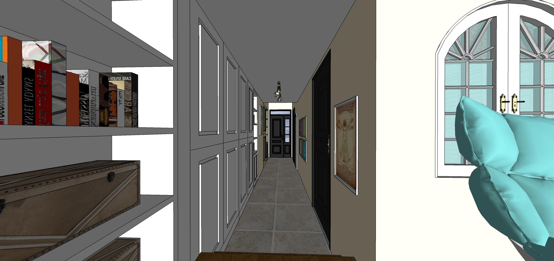 混搭风格一居室玄关走廊装修效果图欣赏