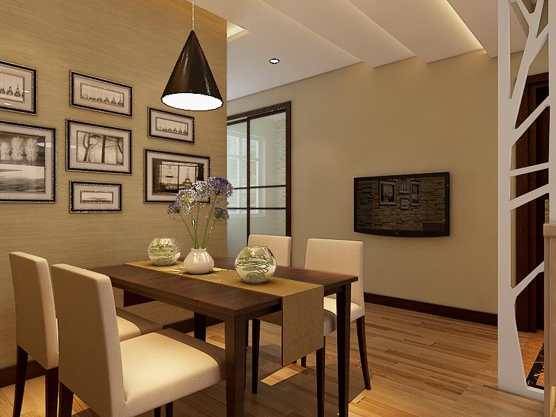 餐厅采用硅藻泥横纹纹理,使餐厅空间有延伸感。