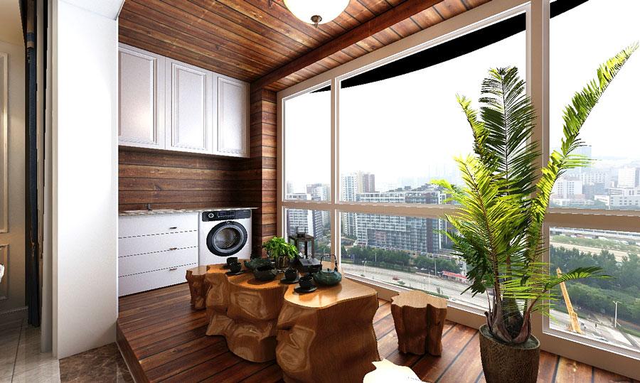 阳台采用防腐木装饰,休闲时刻,业主可以在此喝茶聊天会友,十足惬意.