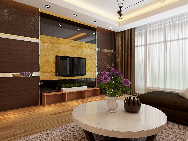 儿童房房门在电视背景墙上,为达到居中效果,背景墙采用护墙板制作隐形门,搭黑色玻璃镜面、理石,即时尚又大气。