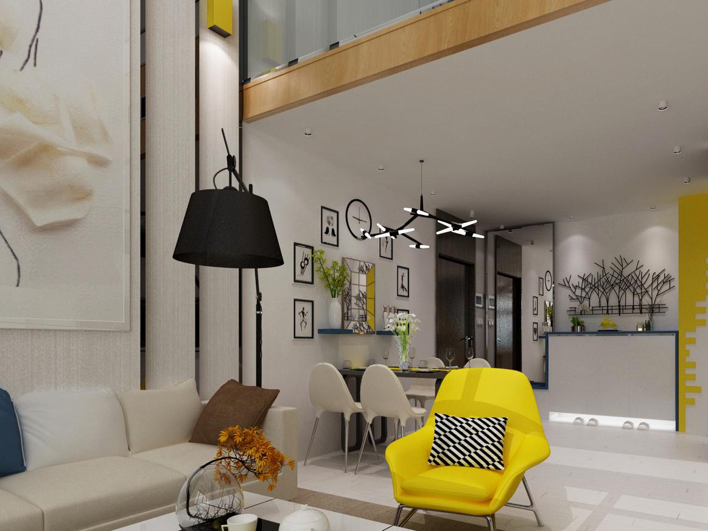 沙发背景墙是石膏板叠层造型。棉麻的壁纸加上柠檬黄色壁灯。电视背景墙在楼梯下方。既是背景墙造型,又可以储物。全屋子白色地板。楼上米色地毯。楼上的卧室选择了大胆的圆床。床头背景墙为抱枕造型墙。学习桌前做了吊椅