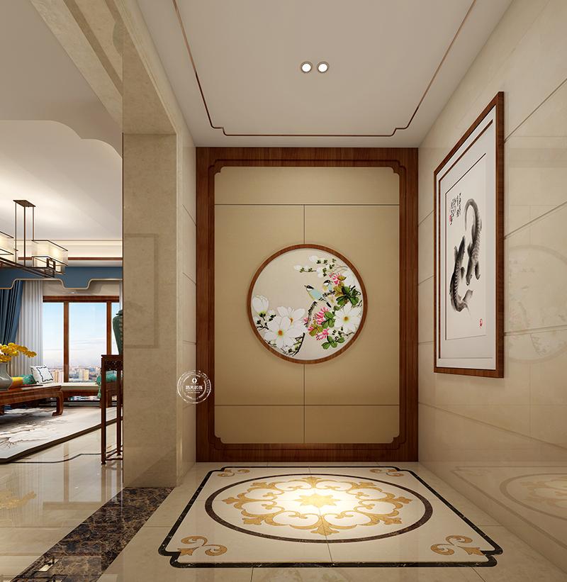 米黄色的中式玄关,带来时间感,仿佛过去和现在融为一体,传统元素和图片