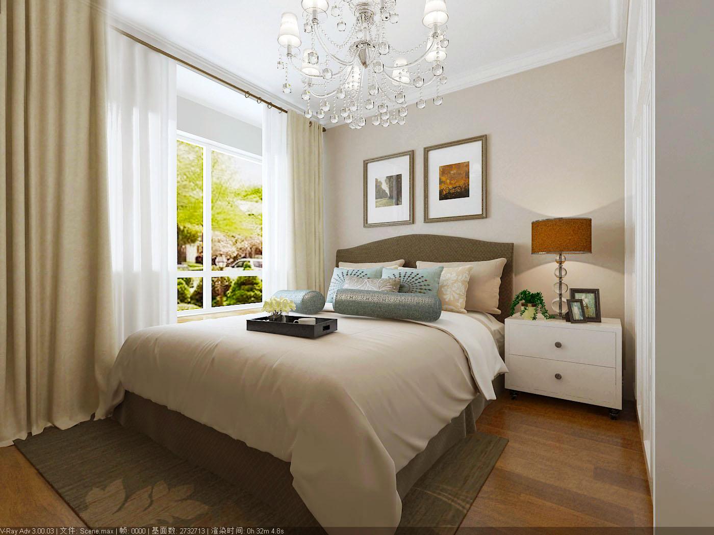美式家居的卧室布置较为温馨,作为主人的私密空间,主要以功能性和实用舒适为考虑的重点,一般的卧室不设顶灯,多用温馨柔软的成套布艺来装点,同时在软装和用色上非常统一。现代美式多用非炫目灯光,且尽量做到只见光不见灯的效果.