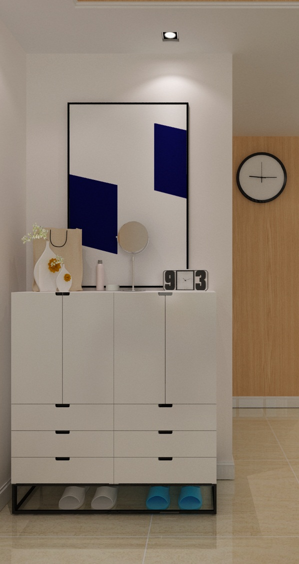 指接板抽缝做造型,天花运用同样的材质使整个方案材质元素统一。由于空间较小,整个方案运用卡座式餐桌,卡座靠背同时也是鞋柜,大大增加了储物空间