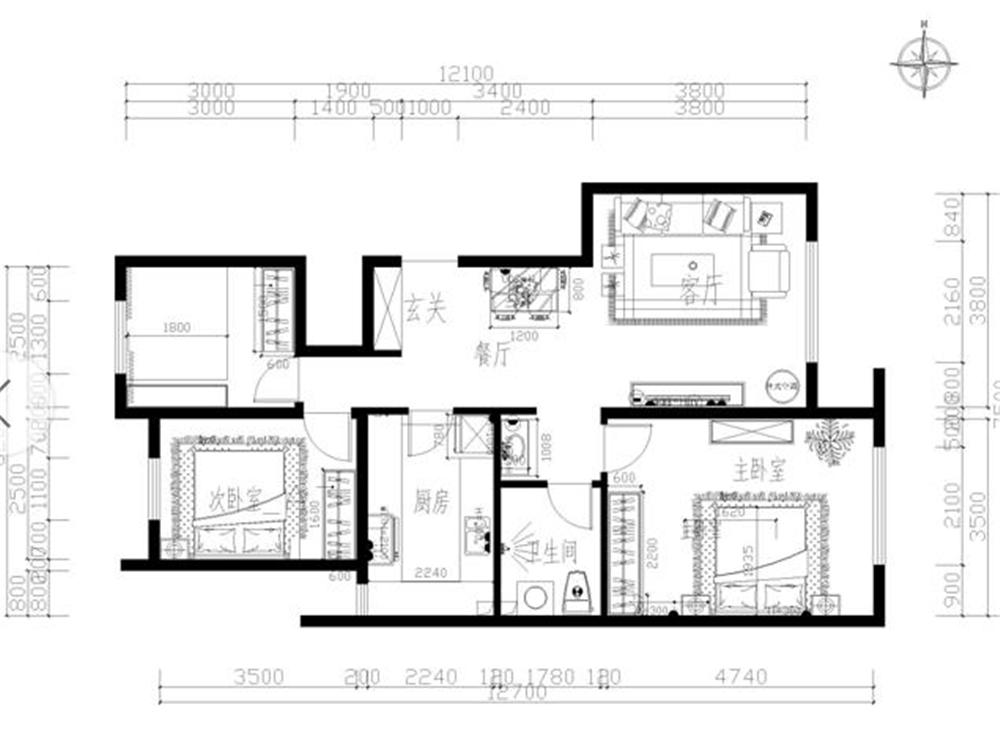 此户型房体结构合理,是一个适合长久居住的生活环境。户型南北通透,布局紧凑,动静分明