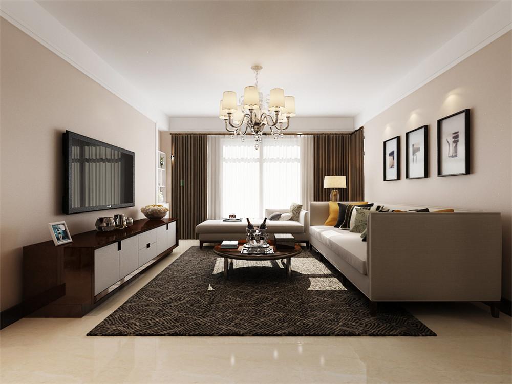 客厅顶面石膏线圈边,既简单又美观,而且相对于回字形吊顶造价也低很多
