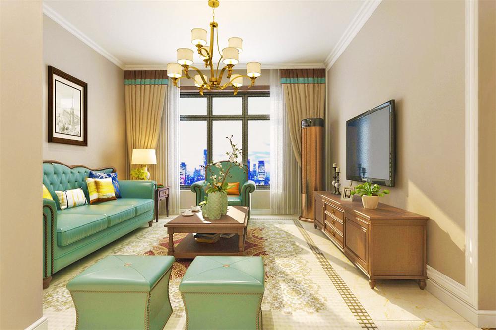 客厅作为待客以及一家人休闲娱乐的空间,无论是在造型上还是在软装配饰上都比较着重,所以造型上大部分运用石膏线装饰,例如顶面,电视背景墙等,简单的装饰无一不显得整个空间简约大方。家具上选用皮质三人座沙发,符合美式宽大,舒适的特点。