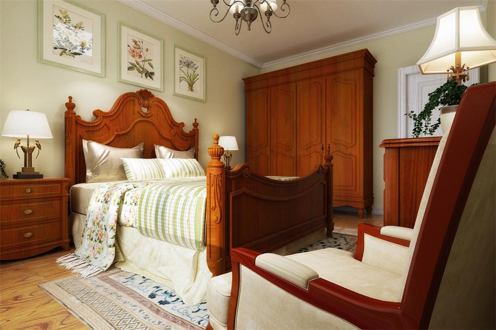卧室选材上也多选取舒适、柔性的软装,没有过多的装饰,地面复合木地板通铺。顶面选用石膏线圈边,既不会显得房高低,给人压抑的感觉,又起到了装饰的作用。卧室总体的感觉偏向温馨,大气的感觉。