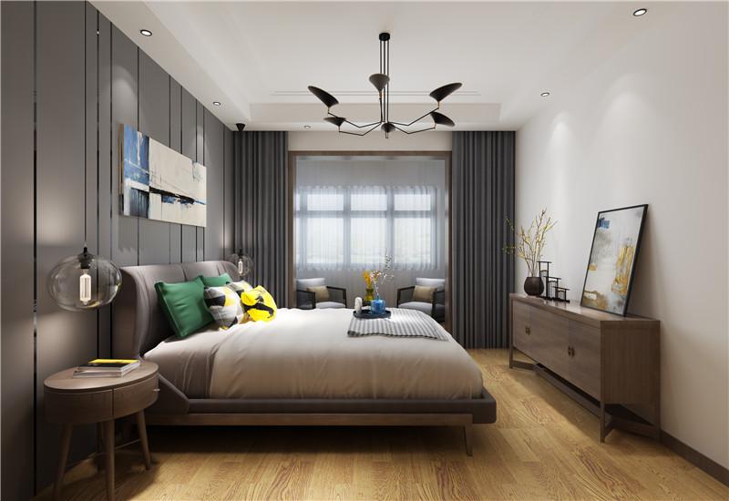 主卧背景墙用简单的金属线条作为装饰,电视墙没有过多的装饰,一个装饰柜与一幅画缓解了墙面的单调。