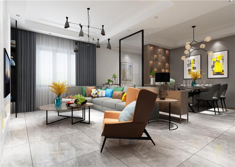 客厅的电视墙采用不对称及不同材质来衬托此空间的对比,黑色金属装饰架、大理石墙面的对比,在以孔雀蓝作为墙面的点缀。造型简单、层次分明,是客厅重要的一景。