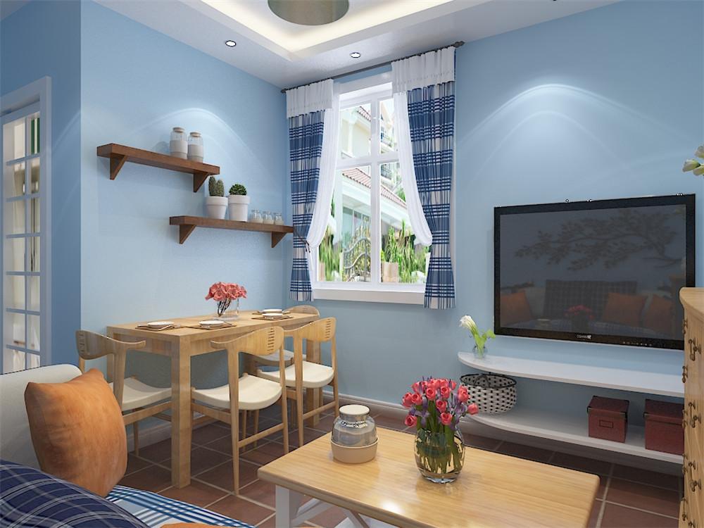 该客厅比较小,并且要兼容客厅、餐厅的功能。餐厅设置在入户门对面靠墙,往里为客厅,电视背景墙靠窗,为保证电视背景墙的面积,所以将窗户砌上一条。因为客厅窗户本身比较大,所以不会影响采光,同时该户型客厅窗户并不朝阳,也使冬天更保温。沙发上方定制一排吊柜。应业主要求,客厅主色调为天蓝色。客厅至入户到过道通铺复古砖。由于厨房面积比较小,所以将门改为推门,以扩充厨房空间。卧室采用的是大面积的暖灰,背景墙为紫色,地面用区别于客厅的地板通铺到阳台,阳台一侧定制储物柜扩充储物功能。