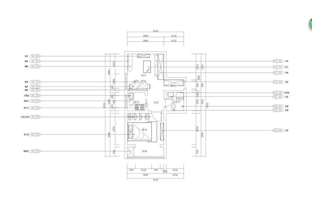 本户型为小户型二手房改造,整体空间比较小,但动线比较顺畅,入户卫客厅,左边走廊厨房卫生间相对,往里为朝阳卧室采光比较好,需要增加一些储藏空间。