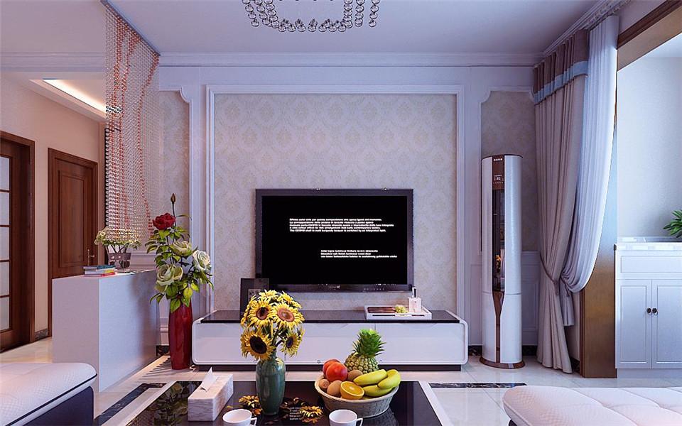 影视墙用石膏线做了造型,里面贴了淡黄色的壁纸,简单,大气又温馨.