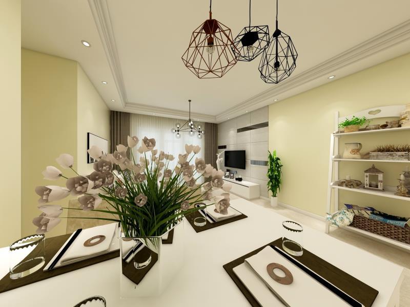 简单的装饰让家更温馨,客厅鹅黄色的墙面使得空间更加明亮。