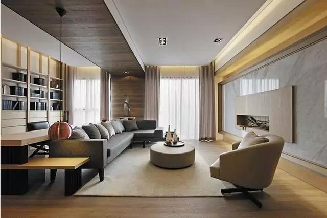 背景墙整体采用大理石铺贴,使整个空间更加通透,落地窗的设计也极大的满足了居室对于光照的需求。