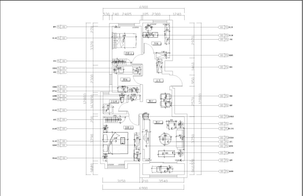 首先从入户门进入顺时针方向分别为玄关、餐厅、客厅、主卧、卫生间、厨房、次卧、书房。客餐厅宽敞明亮,采光充足,视野开阔,面积相对较大,专属性强。次卧、书房、厨房面积刚好,但是卫生间面积相对较小,布局需要