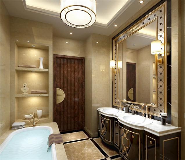 双盥洗台柜体与浴室镜边框采用金线雕花,勾勒,华贵中带着典雅复古的