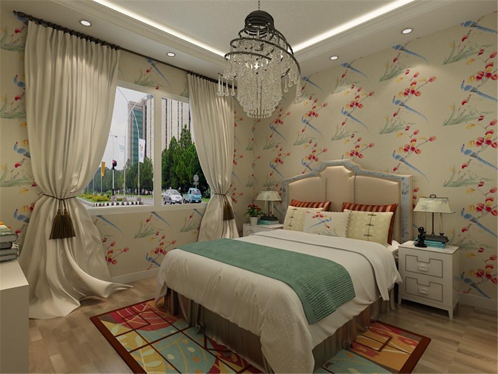 客厅的吊顶我们选择了木质吊顶,再加上沙发的小碎花图案布艺和绿植的点缀,从而充分的展示出美式田园风格设计所追求的一种休闲,舒适的生活环境。 卧室我们在设计上设计的颜色搭配就显得清淡和清新一些同样墙体我们选择的经典的小碎花,搭配白色家具,和木纹地板让业主感觉人与自然完美融合于一室,呈现出闲适,淡雅的自然生活氛围,客厅同样选择和卧室一样的碎花,加上客厅的布艺沙发,既朴实低调又不失时尚。