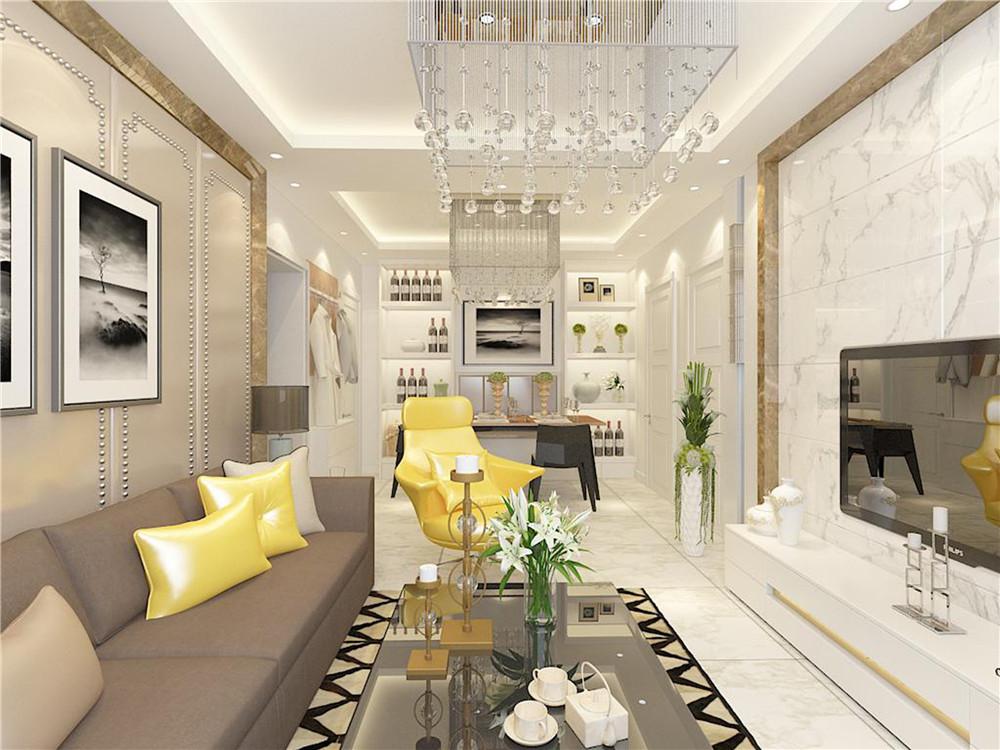 厅采用800*800的瓷砖显得整个客厅大气和简单,包括电视背景墙,一是为了简洁大方,而是因为瓷砖比较好清理,不易挂土也方便清洁,沙发上摆放两个亮黄色的保证作为点缀,使得整个空间不沉闷,还有亮黄色的转椅,叫人会有眼前一亮的感觉。