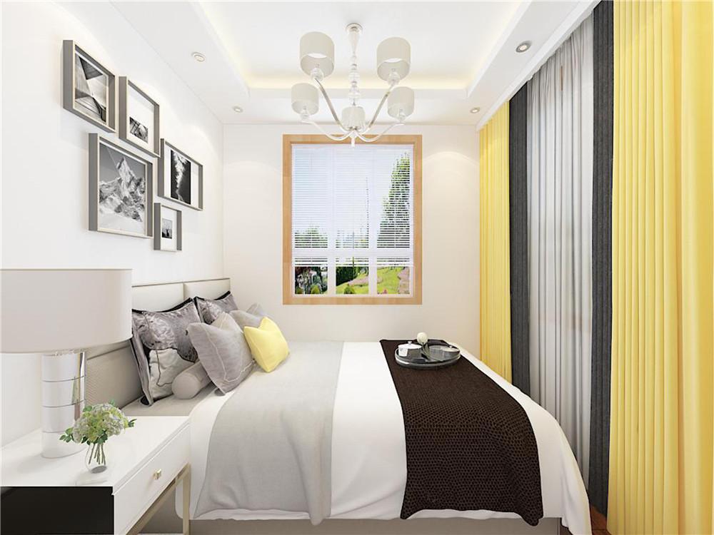 卧室采用的木质地板,这样会让人感觉有一种温馨踏实的感觉,简单明亮的色彩搭配,不会有炫目的灯光,通常以使用舒适为主,灯光柔和,显得温馨舒适,使用部分亮黄色作为点缀,使整个空间更加明亮,温馨,卧室的墙上挂上几张温馨的家庭写真,使劳累了一天的主人能安心的进入梦乡。