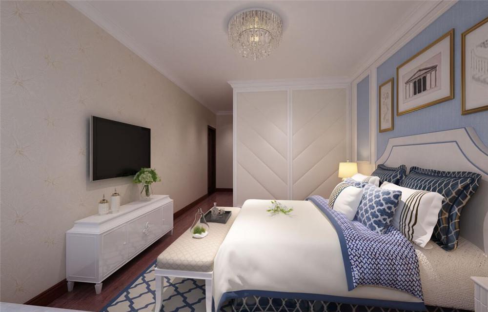 床头背景墙和客厅电视背景墙一样是简洁不失时尚的石膏线条造型,衣柜