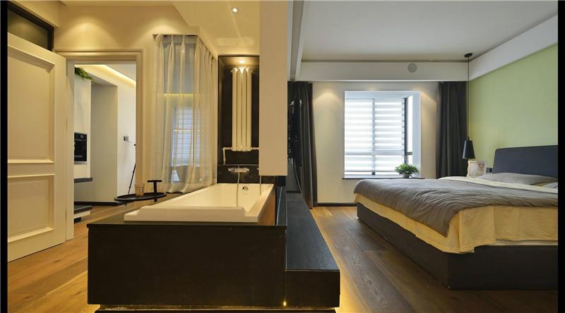 卧室没有主灯,采用射灯营造温馨氛围。