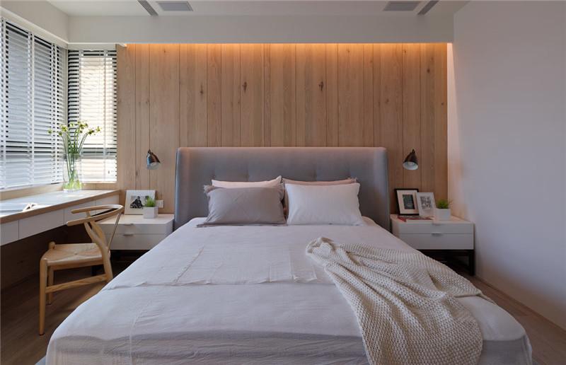 卧室背景墙沿用原木色木板作为装饰,简约温馨自然。