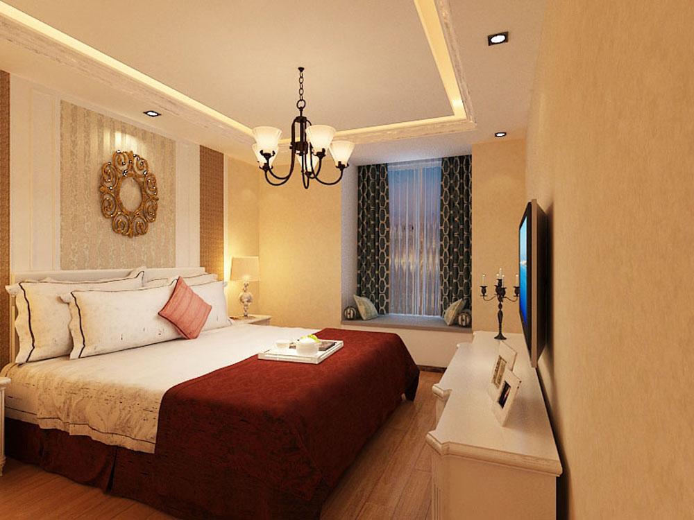 卧室的床头背景墙也带有浓郁的简欧气息,整个空间采用了淡黄色的贴花图片