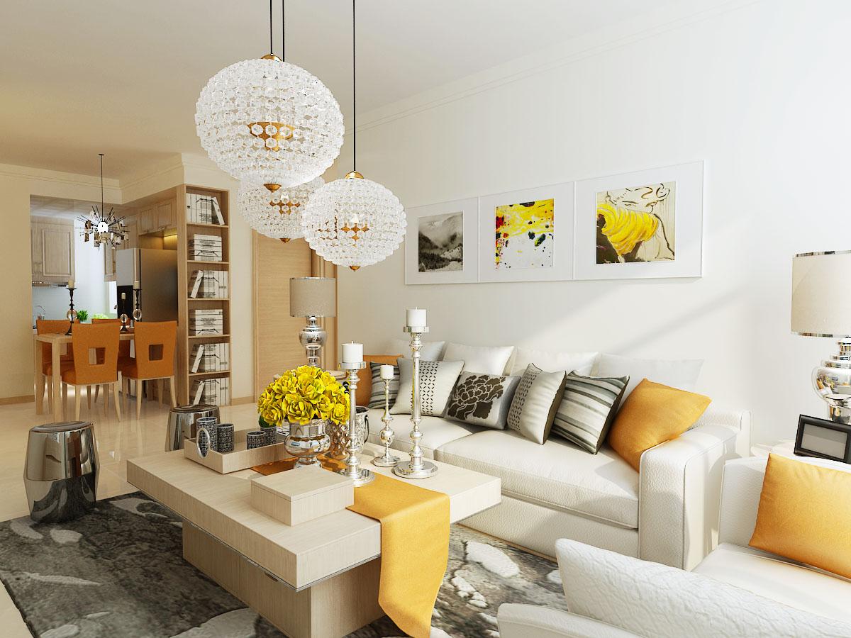 客厅采用简约风格,是思想追求和精神情趣的直接反应,简洁沙发和茶几,沙发独立靠在墙角,背景墙没有做任何造型,旁边放了个绿植,给人一种舒适安静的感觉。