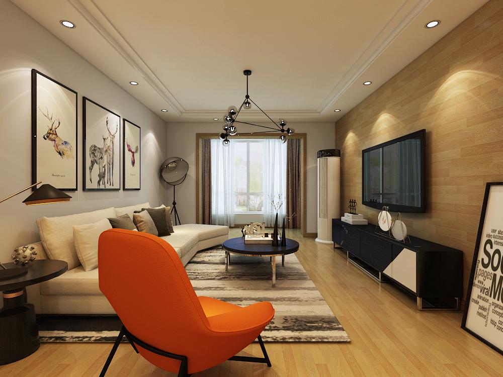 电视背景墙以地板上墙展现时尚休闲风格,与过道吊顶相呼应,餐厅区域达到储物需求,增加一排橱柜,中间以镜面饰面,使空间感最大化。