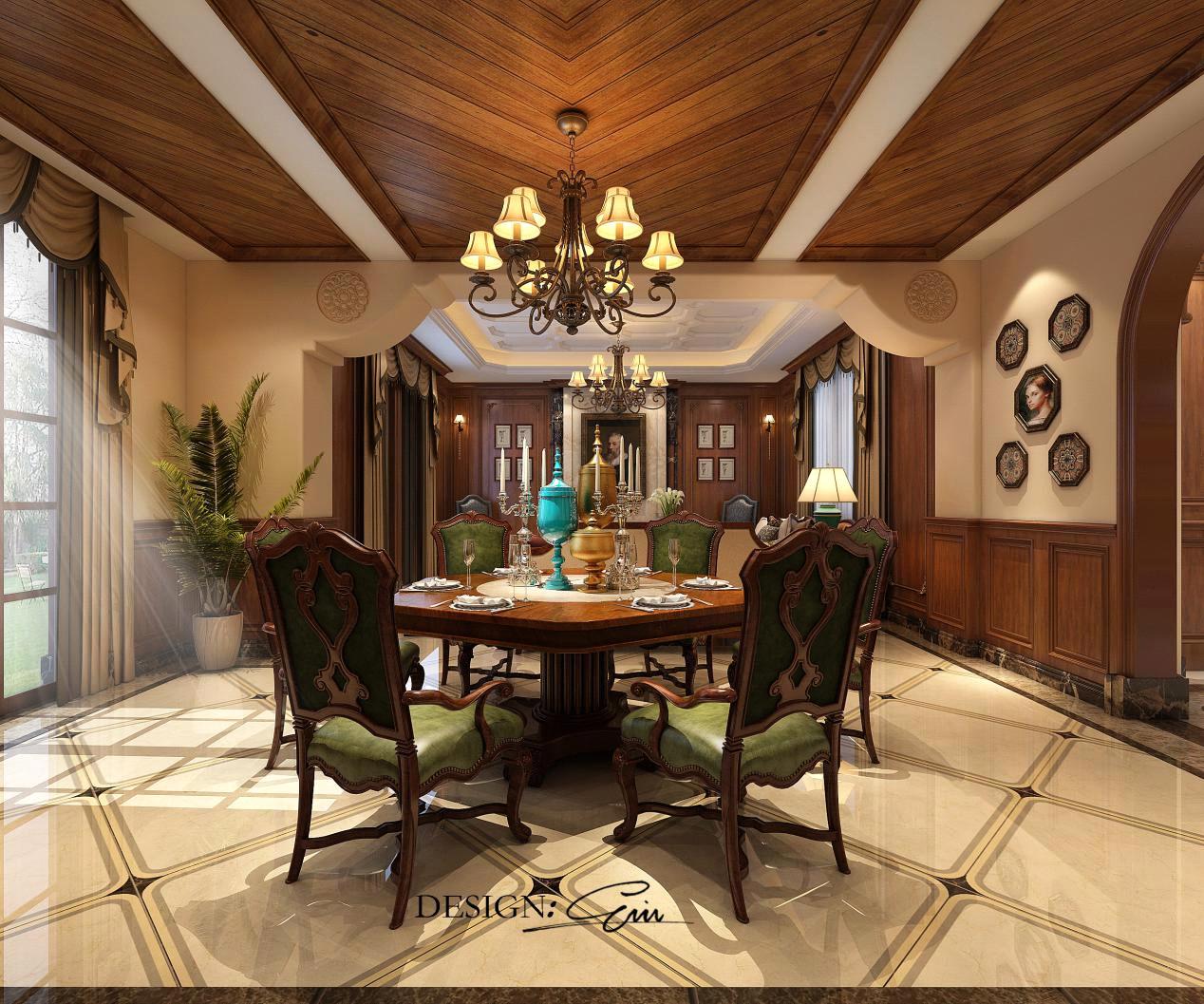 客餐厅:简约不同于简单,餐厅的原木吊顶,给人带来一种轻奢华的感官感受,客厅简洁明朗,深色家具与木质吊顶融为一体,使空间极具历史内涵和文化底蕴,让人尽情陶醉在美利坚的优雅!