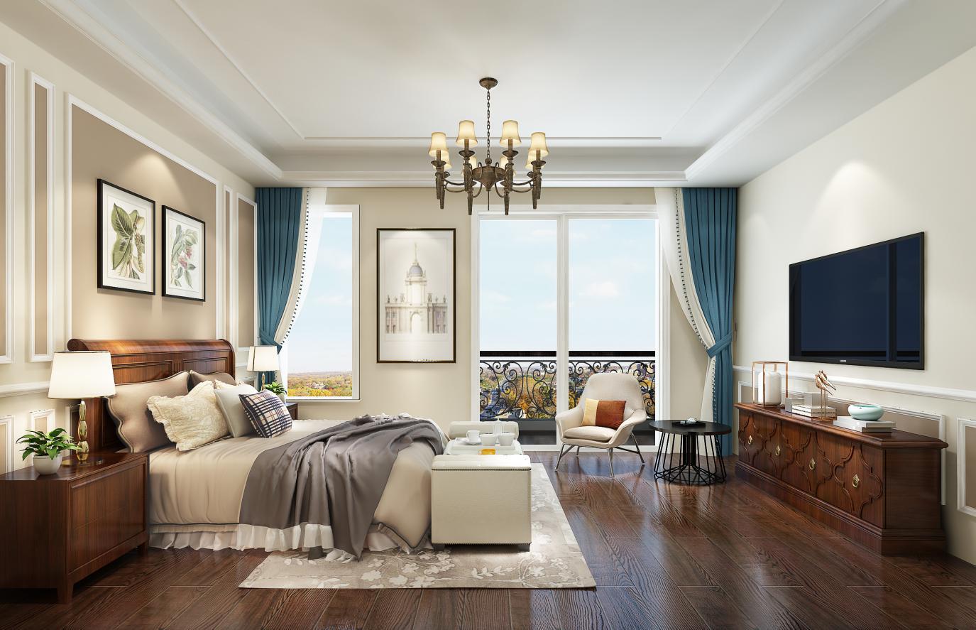 主卧:美式家居的卧室布置较为温馨,作为主人的私密空间,主要以功能性和实用舒适为考虑的重点,卧室不采用复杂的吊顶,以主灯照明,床头灯辅照明,多用温馨柔软的成套布艺来装点,同时在软装和用色上非常统一。