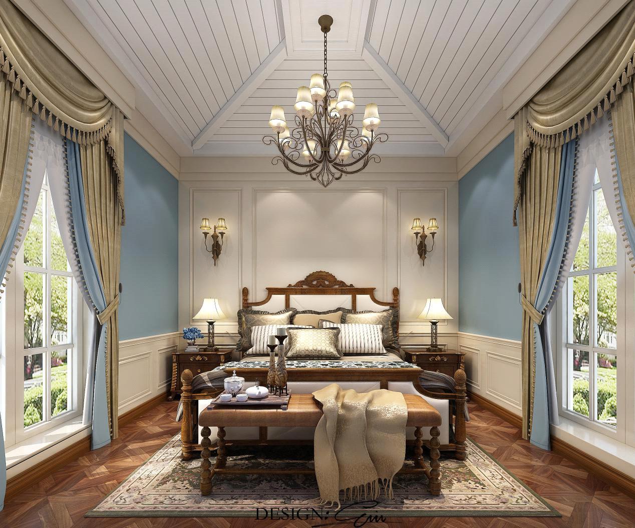 主卧室:卧室采用了天蓝色的墙面,加上白色的吊顶,木制的床与床头柜的搭配,给人以明亮宽敞的感觉,卧室两边的落地窗更是恰到好处,完美融合了这些搭配!