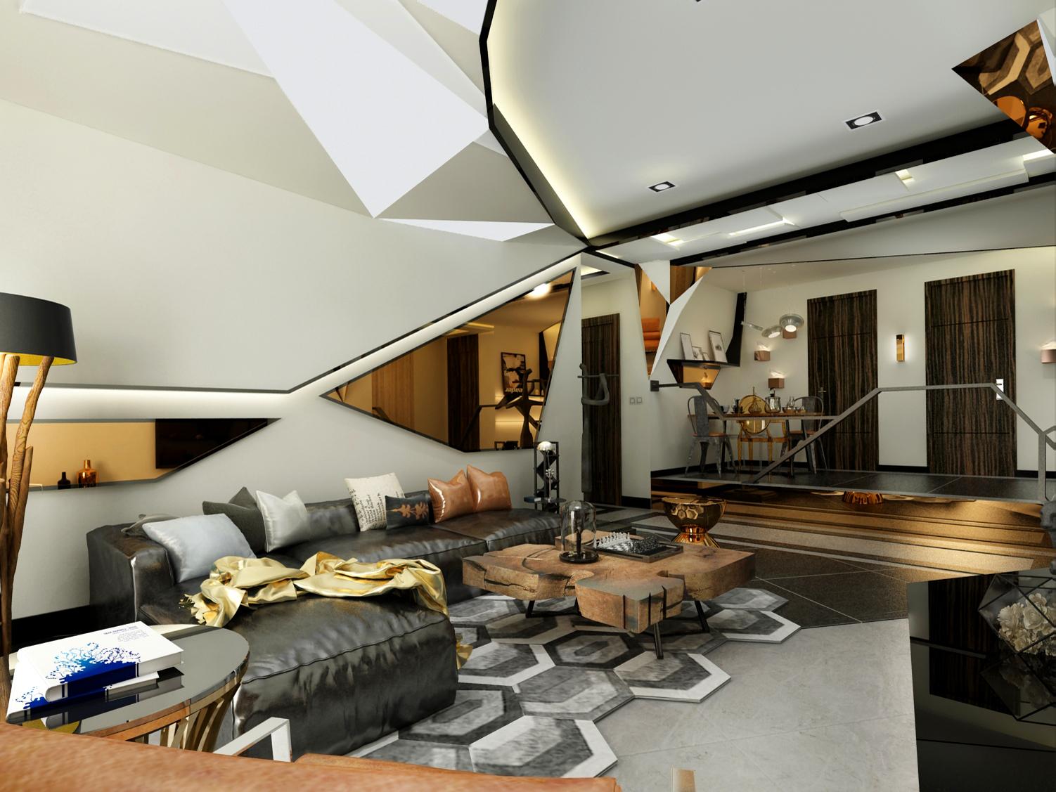 """整个空间的材质多为金属,原木,皮革,饰面镜。颜色多为金色,黑色,灰色以及原木色。客厅的棚面设计师灵感来源""""钻石""""形状,并且客厅餐厅做了独特造型的 软膜灯箱。沙发背景墙运用大面积茶金色饰面镜。皮质的黑色沙发显得整个客厅沉稳与厚重。客厅落地窗的门口做成倾斜造型。地面的深浅灰色地砖把整个地面做出了层次。"""