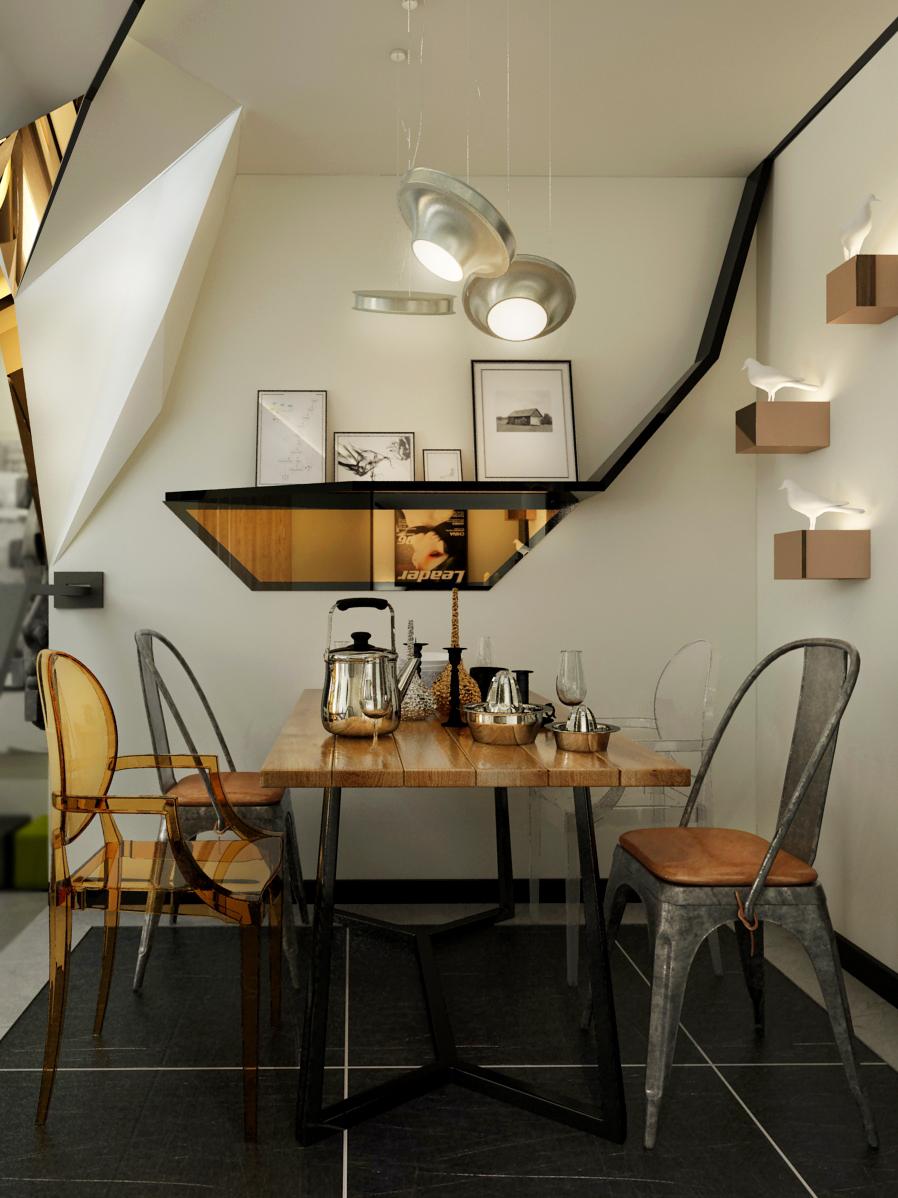 厅餐厅做了独特造型的 软膜灯箱,整个空间的材质多为金属,原木,皮革,饰面镜。颜色多为金色,黑色,灰色以及原木色。
