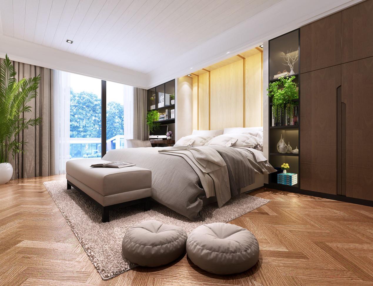 主卧:卧室床头背景整体化设计,也满足了收纳功能,线条流畅,富有时尚气息,充分体现自然、闲适、简洁、时尚的新生活理念,营造完美舒适的卧房空间,带给人内心的宁静。