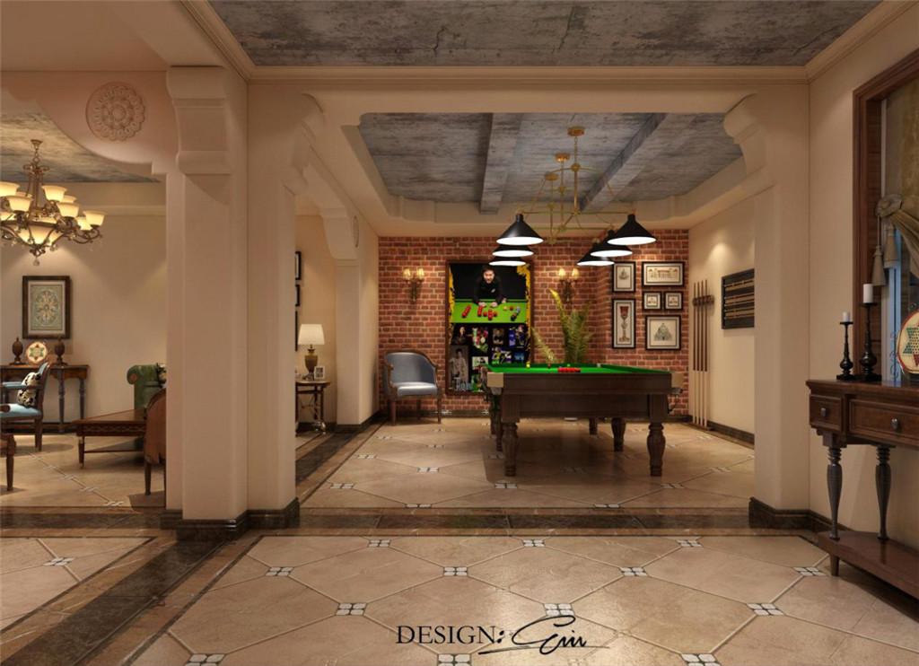 地下室:如果说楼上是睡觉休息的地方,那么负一楼绝对是休闲的最佳场所了。利用良好的采光效果,设计品酒、看书、娱乐于一体的空间效果,在功能性满足的要求下,追求愉悦安逸的环境。空间的开阔,给人享受美式所带来