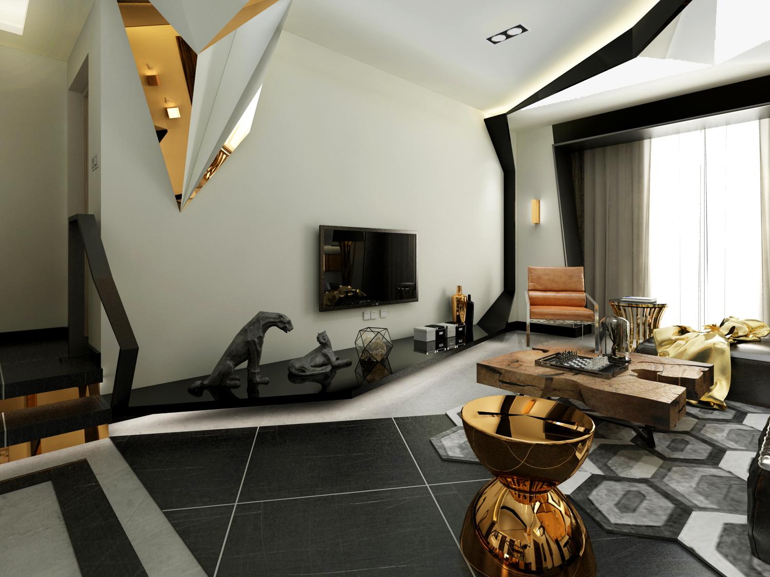 """整个空间的材质多为金属,原木,皮革,饰面镜。颜色多为金色,黑色,灰色以及原木色。客厅的棚面设计师灵感来源""""钻石""""形状"""