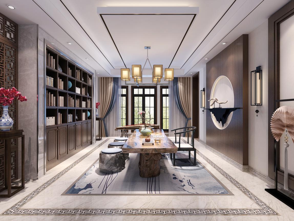 茶室:干练的硬装彰显豪迈的气派,优雅的软装体现极简的中国风。闲暇之余,在灯光的辉映之下,坐在这里细品一壶青茶,满屋飘着淡淡茶香,感受一种真正的平静生活。