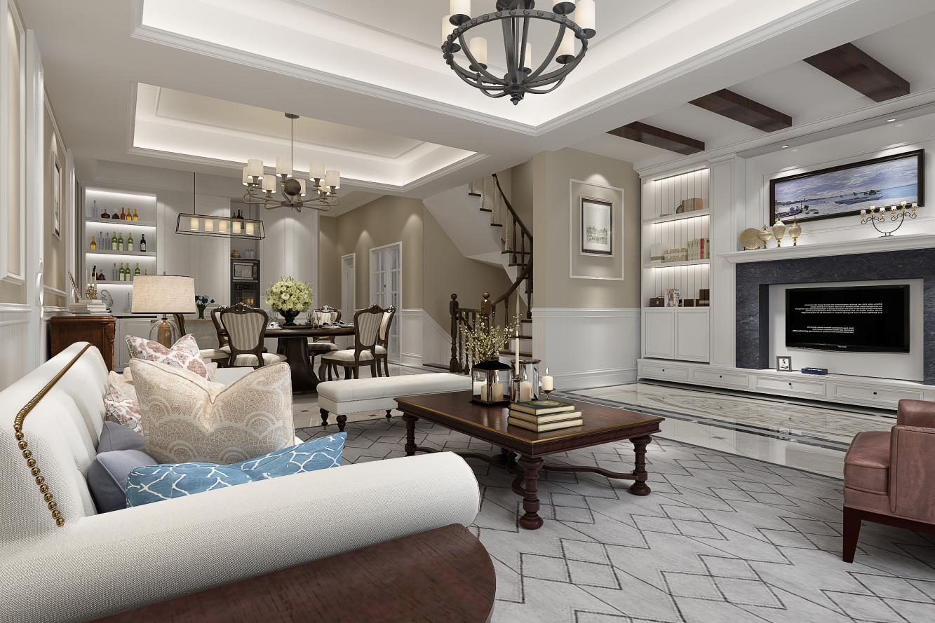 客餐厅: 客厅作为待客区域,一般要求简洁明快,同时装修较其它空间要更明快光鲜,通常使用大量的石材和木饰面装饰;餐厅以同样材质与客厅相呼应。美国人喜欢有历史感的东西,整体家居做旧处理,深色家居配浅色墙面,质感体现的淋漓精致。