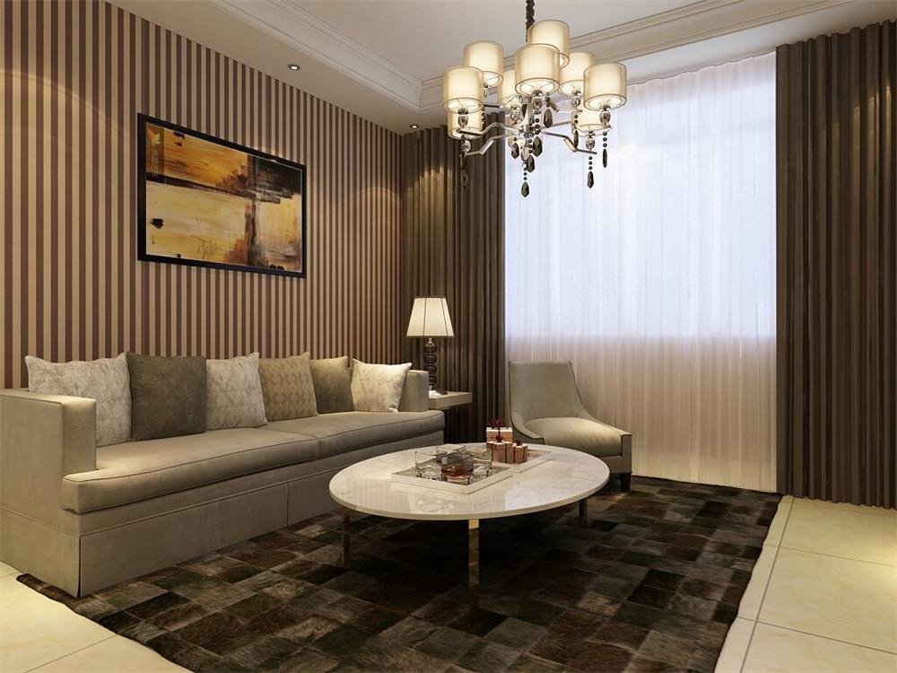 ,作为会客,休闲区域,相对于其他空间做的装修会稍多一些,像回字形吊顶以及石膏线的装饰,另外条纹壁纸作为沙发背景墙不会显得太单调,电视背景墙也是则选用石膏板做造型,地面选了800*800暖黄色大地砖简单实用。