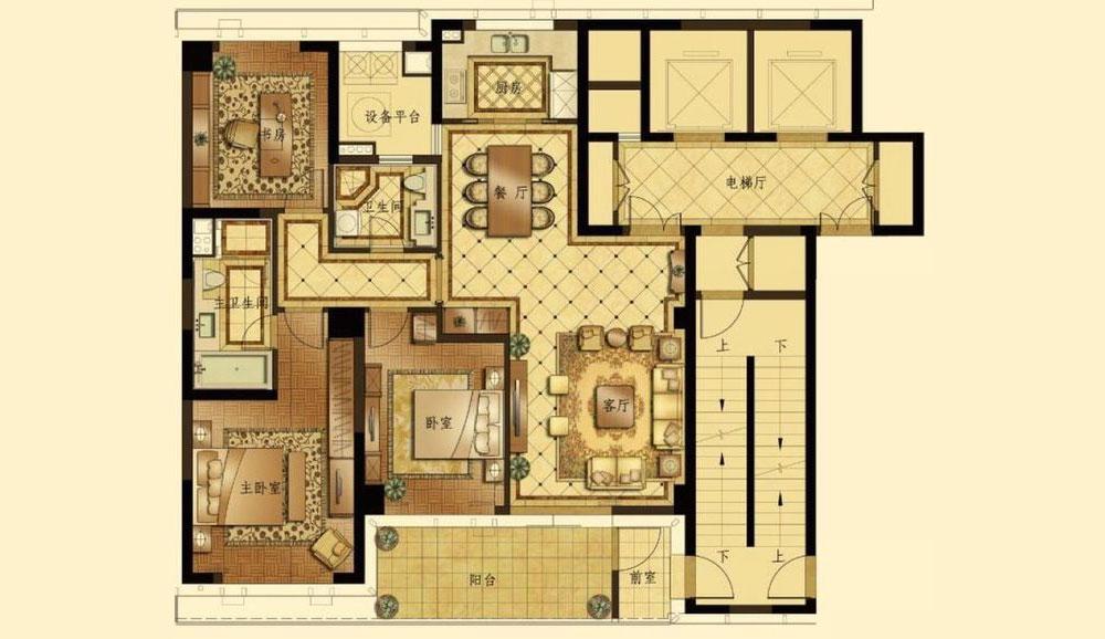 法国人的浪漫在建筑上也表现得淋漓尽致。法式风情风格的主要特征布局上突出轴线的对称,恢宏的气势,豪华舒适的居住空间;效果贵族风格,高贵典雅;细节处理上运用了法式廊柱、雕花、线条,制作工艺精细考究;建筑多采用对称造型,屋顶上多有精致的老虎窗……浪漫清新之感扑面而来。