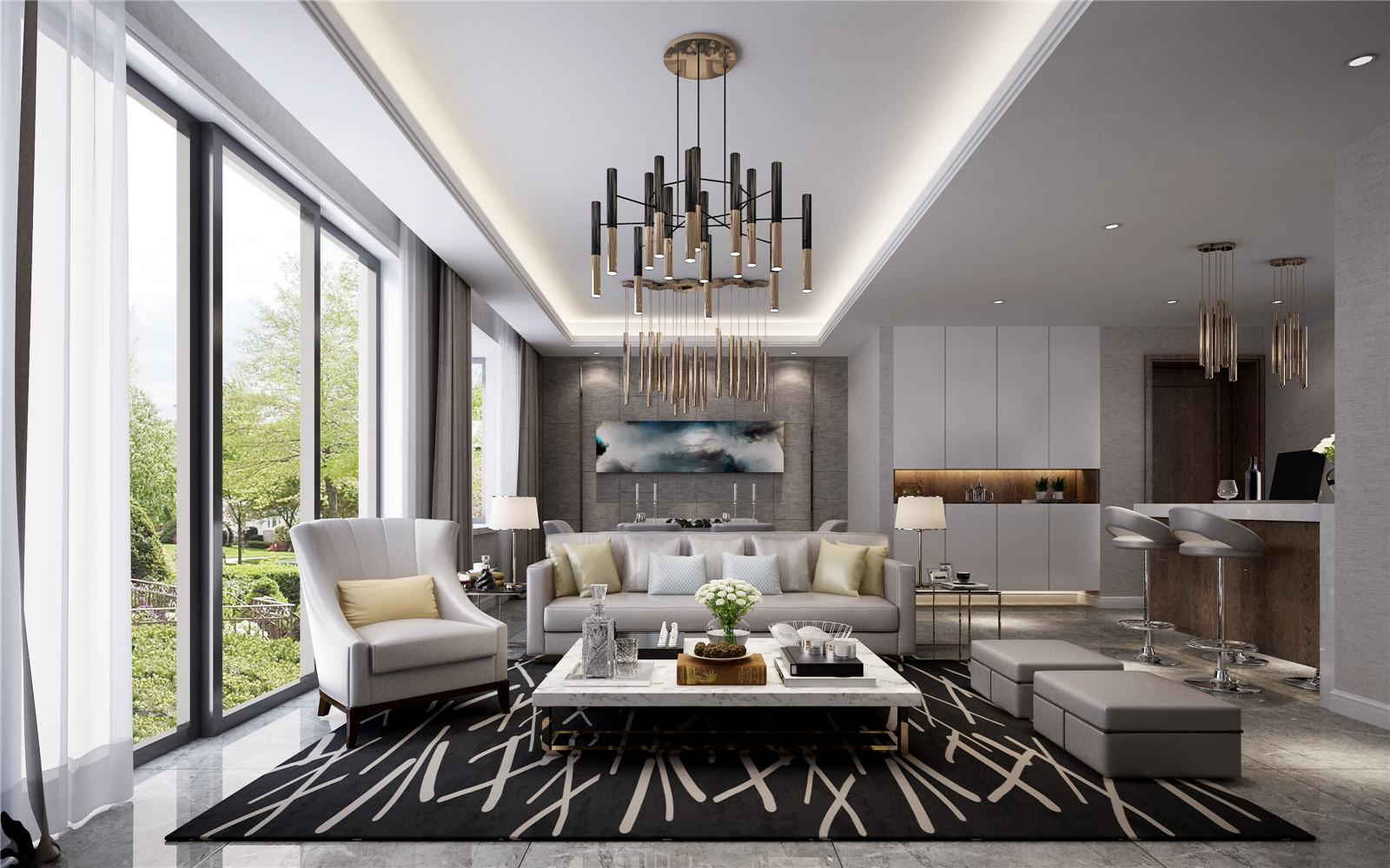 现代室内家具、灯具和陈列品的选型要服从整体空间的设计主题。家具应依据人体一定姿态下的肌肉、骨骼结构来选择、设计,从而调整人的体力损耗,减少肌肉的疲劳。灯光设计的发展方向主要有两大特点:一是根据功能细分为照明灯光、背景灯光和艺术灯光三类,不同居室灯光效果应为这三种类型的有机组合;二是灯光控制的智能化、模式化,也即控制方式由分开的开关发展为集中遥控,通过设定视听、会客、餐饮、学习、睡眠等组合灯光模式来选择最佳的效果。对于陈列品的设置上,应尽量突出个性和美感。 4、个性空间设计