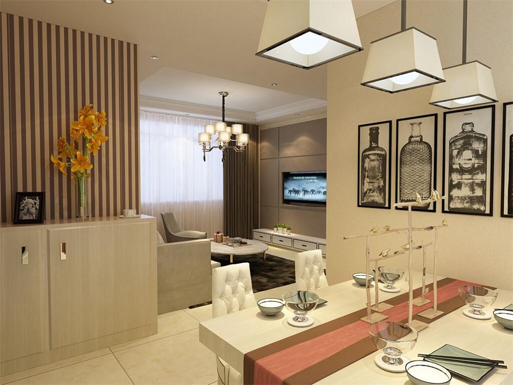 餐厅没有太多的装饰简单的挂画,矩形的吊灯足够显得温馨。