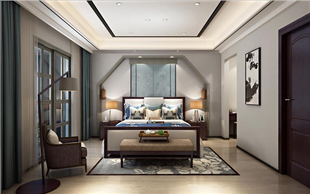 次卧效果图 ▼次卧背景充分利用上方的梁够早了一个中式门拱的造型,体现了设计师的独到之处。