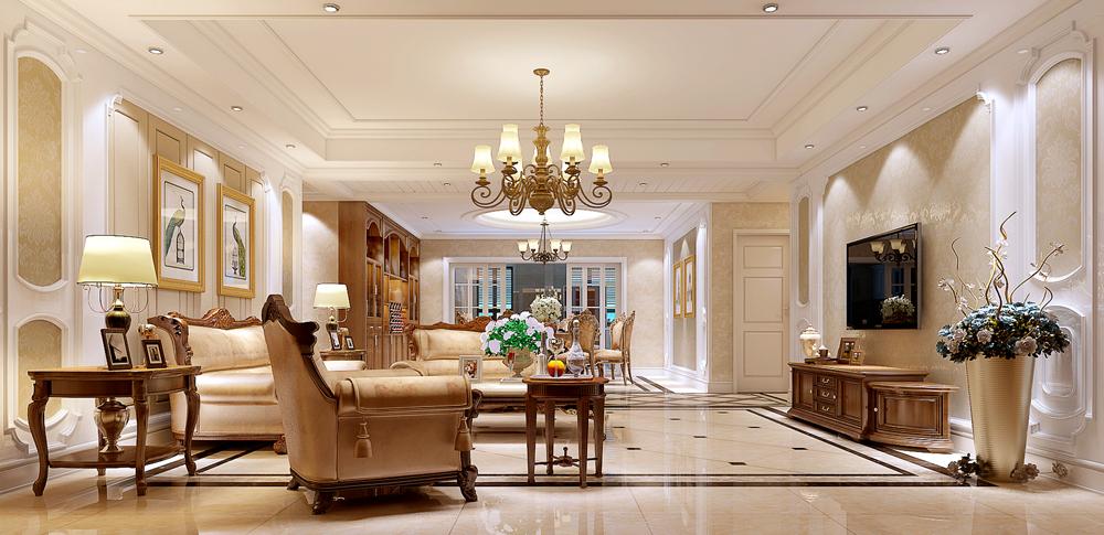 美式古典风格植根于欧洲文化,并不过分强调繁复的雕刻,以舒适和多功能为主,但同时也不失怀旧、浪漫的感觉。这套住宅采用纯正的美式古典风格,设计师考虑到底楼普遍存在采光不足的问题,尽量多地采用玻璃门以及合理利用飘窗,避免了美式古典风格色彩过于暗淡的情况发生。?