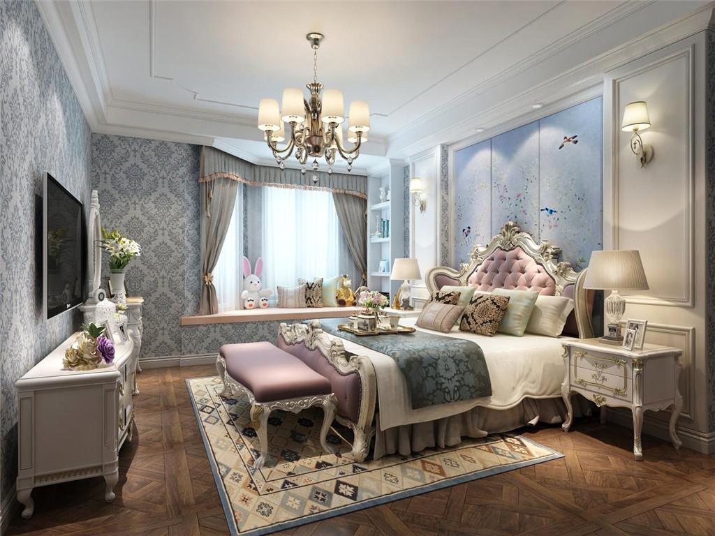 主卧室:卧室采用了淡蓝色的墙面,加上白色的吊顶,精致优雅的床头柜与格纹地毯的搭配,给人以明亮宽敞的感觉,床的颜色更是大胆使用了淡紫色,不但完美融合进了整体空间,又给人温馨舒适的感觉!