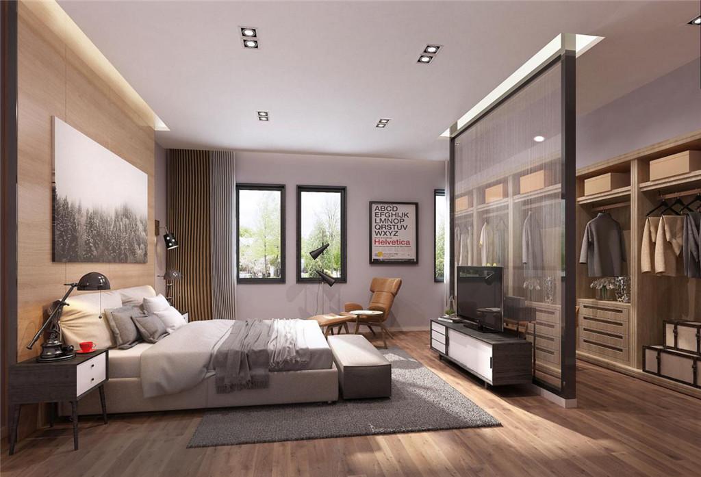 主卧效果图 ▼卧室采用开放式的设计把衣帽间与主卧室连合在一起,用半透明的隔断区分功能划区,使得整个主卧空间开放开敞明亮,又不失明显的功能区分。背景木饰面在灯带的映衬下更显得温暖的氛围,整体简约而不简单