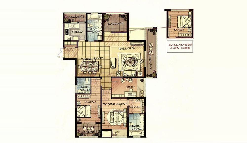 """新中式风格非常见就空间的层次感,在需要隔绝视线的地方,则使用中式的屏风或窗棂、中式木门、工艺隔断、简约和的中式""""博古架"""",通过这种新的分割方式,单元式住宅就展现出中式家居的层次之美。再以一些简约的造型为基础,添加了中式元素,使整体的空间感觉更加丰富,大而不空、厚而不重,有格调又不显压抑。?"""