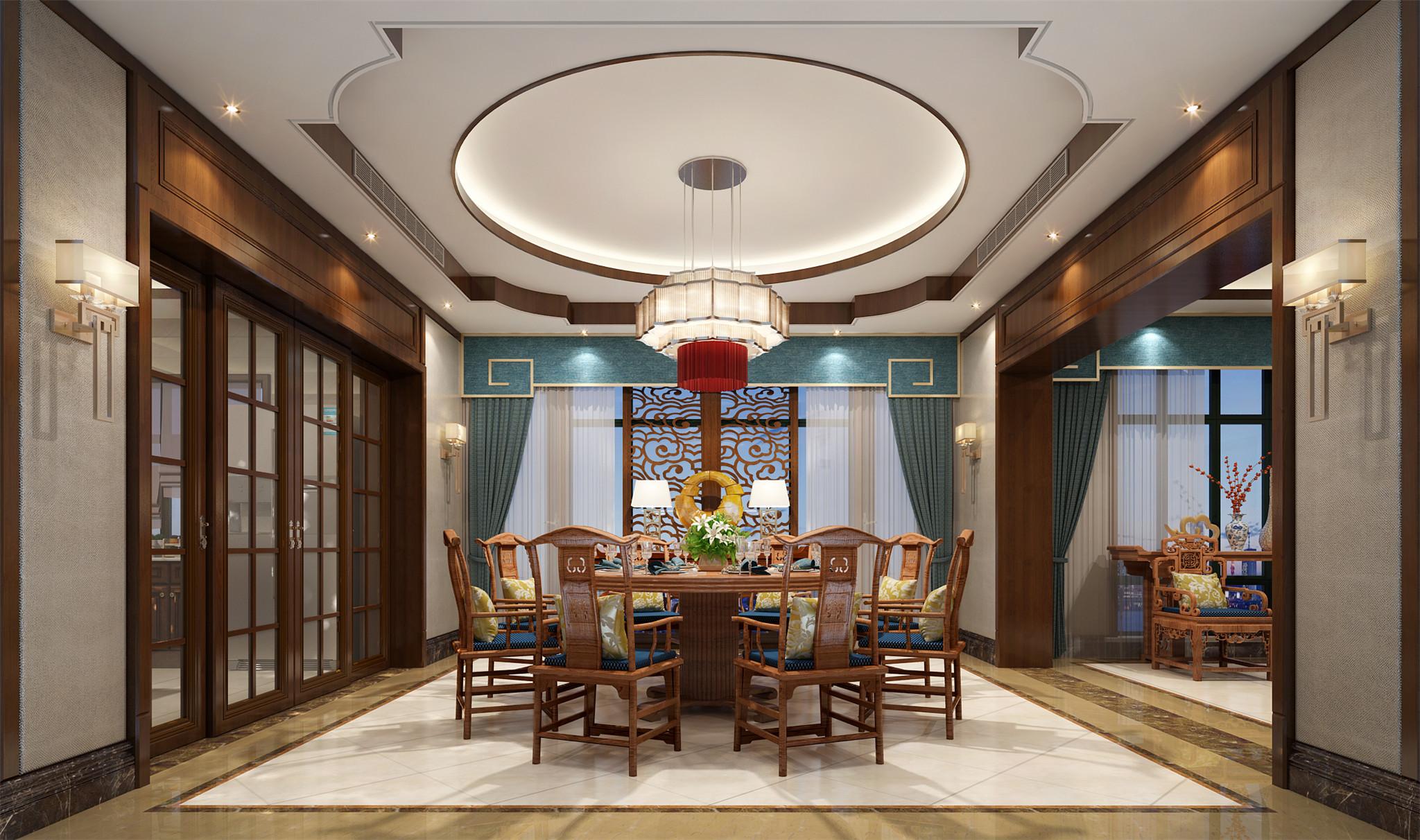 餐厅:古典家具配上棉,麻的墙面饰面材料.